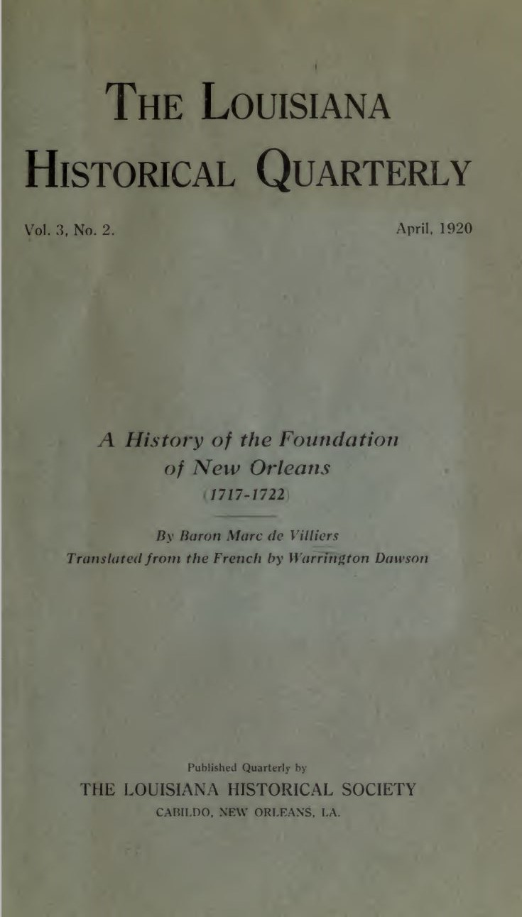 Villiers a history of the foundation of new orleans baron marc de villiers a history of the foundation of new orleans 1717 1722 trans warrington dawson aiddatafo Choice Image